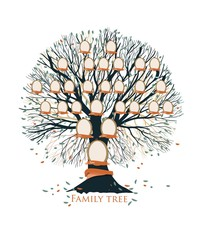 Family tree, pedigree or ancestry chart template with branches, leaves, empty photo frames isolated on white background. Representation of generations of relatives and ancestors. Vector illustration.