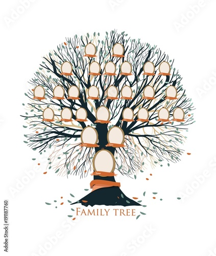 u0026quot family tree  pedigree or ancestry chart template with branches  leaves  empty photo frames