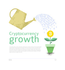 Bitcoin and other cryptocurrencies mining and growth, conceptual poster, vector illustration.