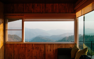 Morning forest and mountain view from wooden cabin living room in Chiang Mai, Thailand Fototapete