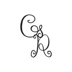 Handwritten monogram GR icon