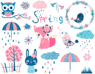 Cute vector set with animal characters and graphic design elements in pink and blue colors