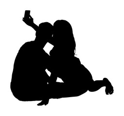 Happy couple in love take selfie vector silhouette illustration isolated on white background. Boyfriend and girlfriend travel fun with phone. Romantic outdoor photography.