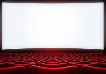 movie theater screen with red seats 3d illustration