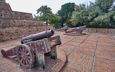 Old cannons in Fort Zeelandia (Formosa) in Tainan  - Taiwan