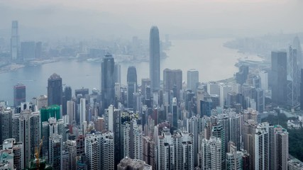 Fotomurales - timelapse, sunrise from Victoria peak,  Hong kong