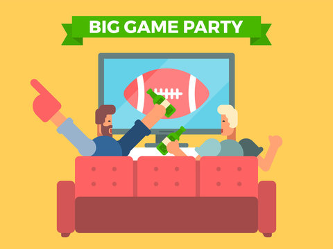 Friends watching a football game on tv eating and cheering. Vector illustration of celebrating a super bowl.