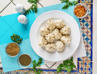 Georgian dumplings Khinkali with meat