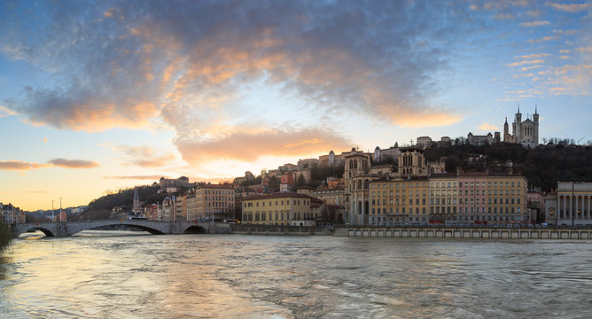 Sunset at Vieux Lyon seen from Quai des Celestins, at the Saone river in Lyon.