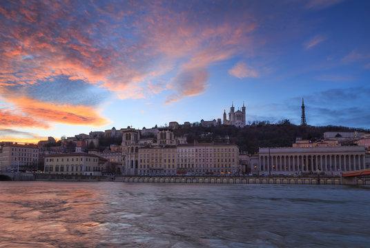 A colorful dusk over Cathedral Notre-Dame de Fourviere and Vieux-Lyon. Lyon, France.