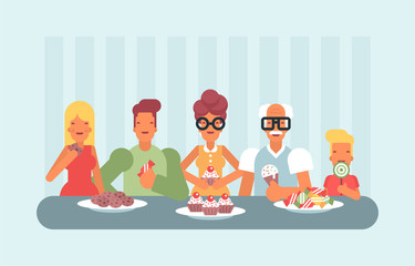 A group of people in various age gender and body type enjoying sweets including donut and ice cream