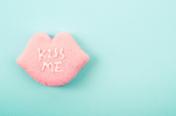 "candies with ""KISS ME"" text"