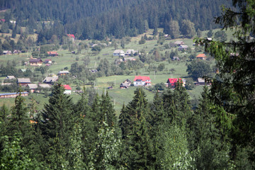 Panorama of Yaremche and Mykukychyn from above. Carpathian mountain. Europe. Ukraine.