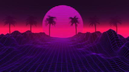 80s Retrowave Background 3D Illustration