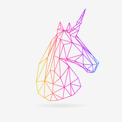 Vector polygonal unicorn illustration. Colorful low poly style fantasy icon.