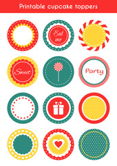 Set of printable tags, cupcake toppers, labels