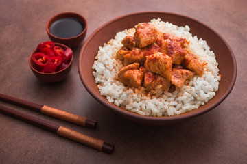 indian chicken curry with white rice