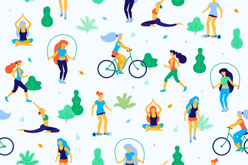 People in the park vector flat illustration. Women walk in the park and do sports, physical exercises. Park seamless pattern.