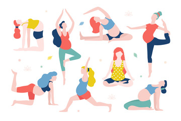 Yoga for pregnant women vector flat illustration isolated on white background. Healthy women with belly doing yoga in different poses.