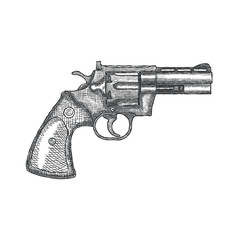 Hand Drawn Vintage Revolver Gun. Firearm, pistol sketch. Vector