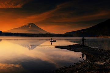 Mount Fujisan at dawn in Shoji lake