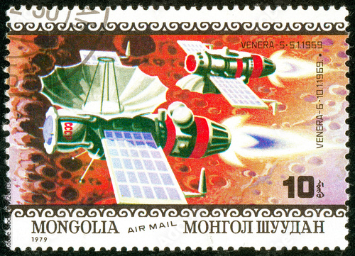 Ukraine - circa 2018: A postage stamp printed in Mongolia