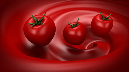 Beautiful red background with tomato and splash of juice, tomato paste, ketchup, sauce. 3d illustration, 3d rendering.