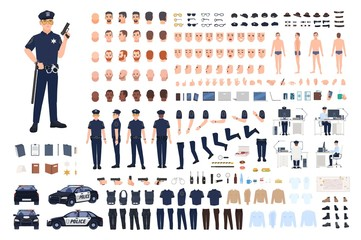 Policeman creation set or DIY kit. Collection of male police officer body parts, facial gestures, hairstyles, uniform, clothing and accessories isolated on white background. Vector illustration