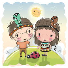 Cute Cartoon tribal girl and boy with feather
