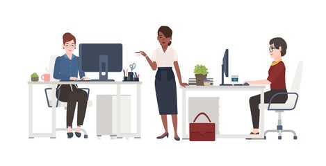 Women working at office. Female clerks dressed in smart clothes sitting in chairs at desks with computers or standing and drinking coffee. Cartoon characters. Vector illustration in flat style.