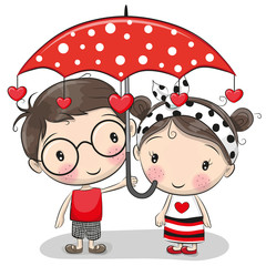 Cute Boy and girl with umbrella