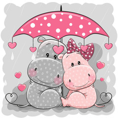 Two Cute Hippos with umbrella under the rain