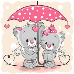 Two Cute Kittens with umbrella under the rain