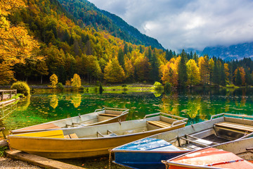 Boat station on the beautiful quiet lake
