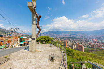 panoramic point and Christ of Peace in the district called Divisa in the city of Medellin Colombia