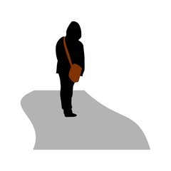 Silhouette of a man with a bag over his shoulder. Disabled. Vector