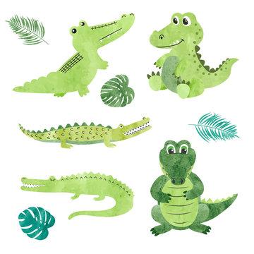 Set of watercolor cartoon crocodiles. Vector illustration of alligators.