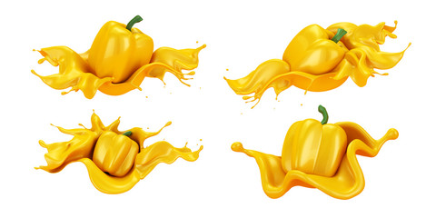 Set, pack, collection of beautiful, abstract yellow background with pepper and splash of juice. 3d illustration, 3d rendering.