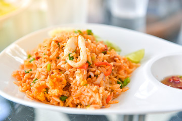 Fried rice with squid,  Thai food.