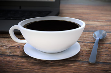 Coffee cup and spoon on wooden table. 3D rendering