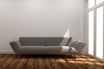 Living Room Interior with sofa, wooden floor on white wall background.3D rendering