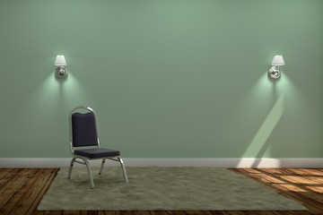 Living Room Interior with chair and carpet with two lamps ,wooden floor on green wall background. 3D rendering
