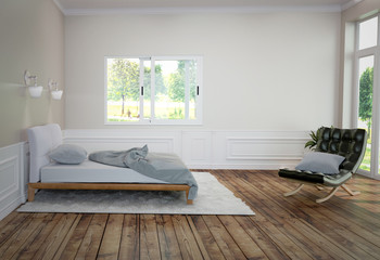 Bed Room Interior with white bed and carpet with a lamp and sofa, wooden floor and black wall background. 3D rendering