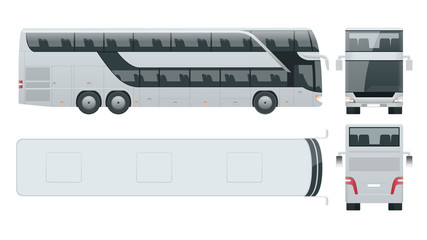 Double-deck multi-axle luxury touring coach. Commercial vehicle. Intercity bus vector illustration.