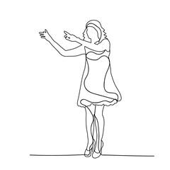 sketch of a girl dancing, simple lines