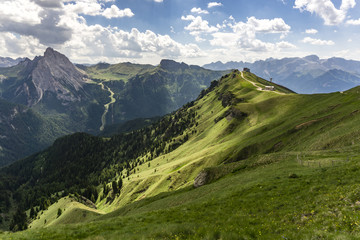 Green hills of the Dolomites in summer.