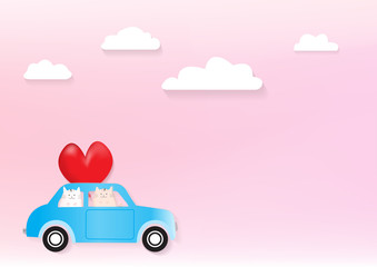Two cute cats in a car with pink background that can use for wedding or Valentine's day card.