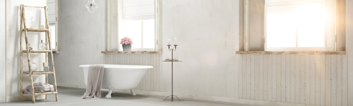 Shabby chic bathroom with sun flare 3d rendering