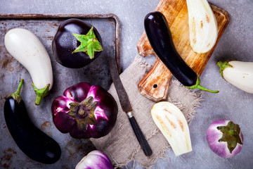Eggplants are different. Vegetables. Variety of shapes and colors on a metallic background.Food or Healthy diet concept.Super Food.Vegetarian.Top View.Copy space for Text.selective focus.