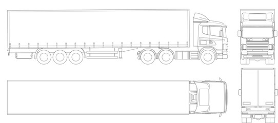 Fototapeten Cartoon draw Vector truck trailer outline. Commercial vehicle. Cargo delivering vehicle. View from side, front, back, top.